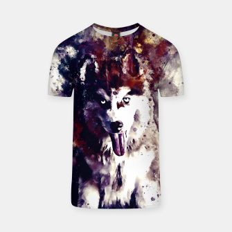 Thumbnail image of husky puppy dog watercolor splatters foggy night T-shirt, Live Heroes