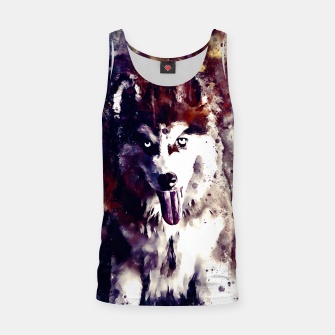 Thumbnail image of husky puppy dog watercolor splatters foggy night Tank Top, Live Heroes