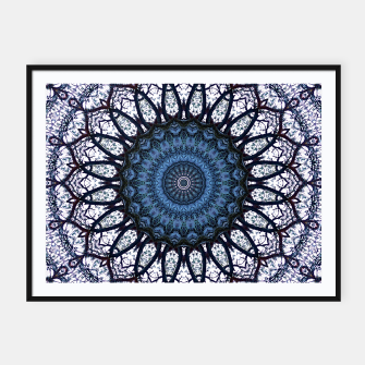 Nature mandala blue bloom Framed poster Bild der Miniatur