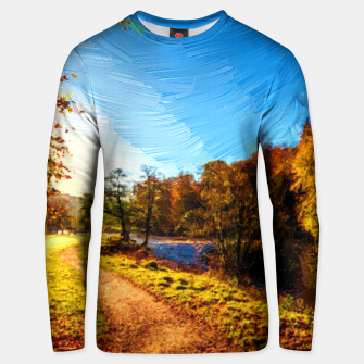 Thumbnail image of yorkshire river autumn digital oil painting Unisex sweater, Live Heroes