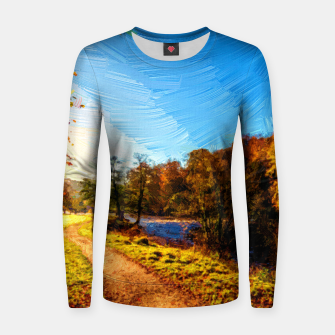 Thumbnail image of yorkshire river autumn digital oil painting Women sweater, Live Heroes