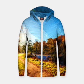 Thumbnail image of yorkshire river autumn digital oil painting Zip up hoodie, Live Heroes
