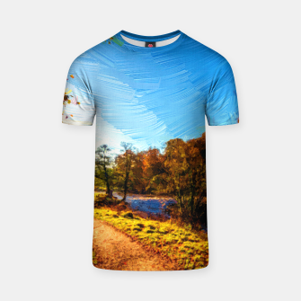 Thumbnail image of yorkshire river autumn digital oil painting T-shirt, Live Heroes