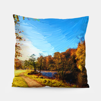 Thumbnail image of yorkshire river autumn digital oil painting Pillow, Live Heroes