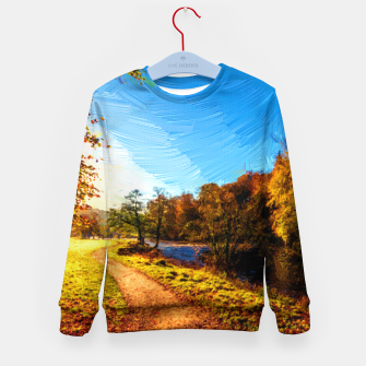Thumbnail image of yorkshire river autumn digital oil painting Kid's sweater, Live Heroes
