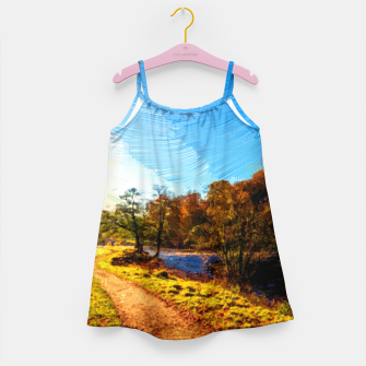 Thumbnail image of yorkshire river autumn digital oil painting Girl's dress, Live Heroes