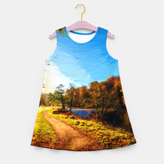 Thumbnail image of yorkshire river autumn digital oil painting Girl's summer dress, Live Heroes