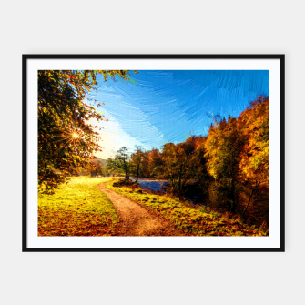 Thumbnail image of yorkshire river autumn digital oil painting Framed poster, Live Heroes