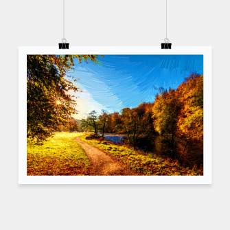 Thumbnail image of yorkshire river autumn digital oil painting Poster, Live Heroes