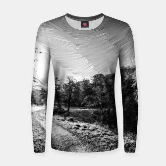 Thumbnail image of yorkshire river autumn digital oil painting black white Women sweater, Live Heroes