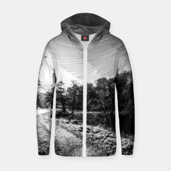 Thumbnail image of yorkshire river autumn digital oil painting black white Zip up hoodie, Live Heroes