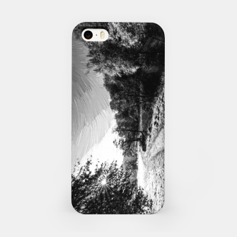 Thumbnail image of yorkshire river autumn digital oil painting black white iPhone Case, Live Heroes