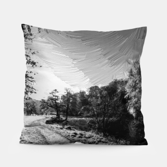 Thumbnail image of yorkshire river autumn digital oil painting black white Pillow, Live Heroes