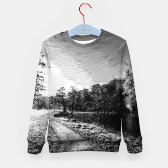 Thumbnail image of yorkshire river autumn digital oil painting black white Kid's sweater, Live Heroes