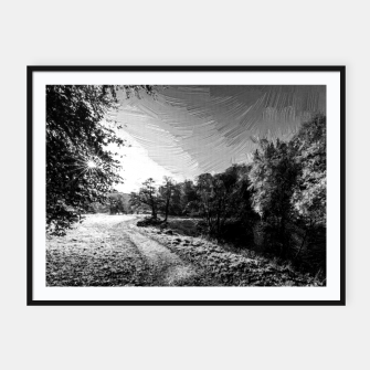 Thumbnail image of yorkshire river autumn digital oil painting black white Framed poster, Live Heroes