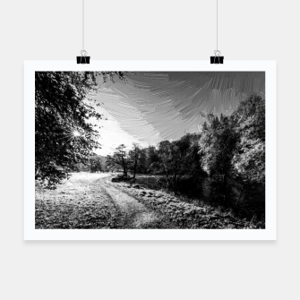 Thumbnail image of yorkshire river autumn digital oil painting black white Poster, Live Heroes