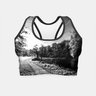 Thumbnail image of yorkshire river autumn digital oil painting black white Crop Top, Live Heroes