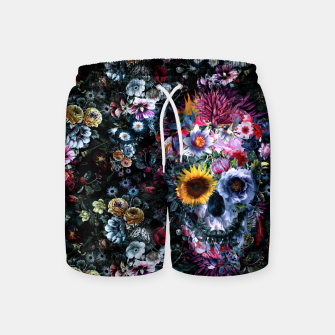 Thumbnail image of Voodoo Skull Floral Swim Shorts, Live Heroes