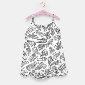 Paleontology Dream Dinosaur Fossil Skulls Pattern Girl's dress thumbnail image