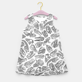 Paleontology Dream Dinosaur Fossil Skulls Pattern Girl's summer dress thumbnail image