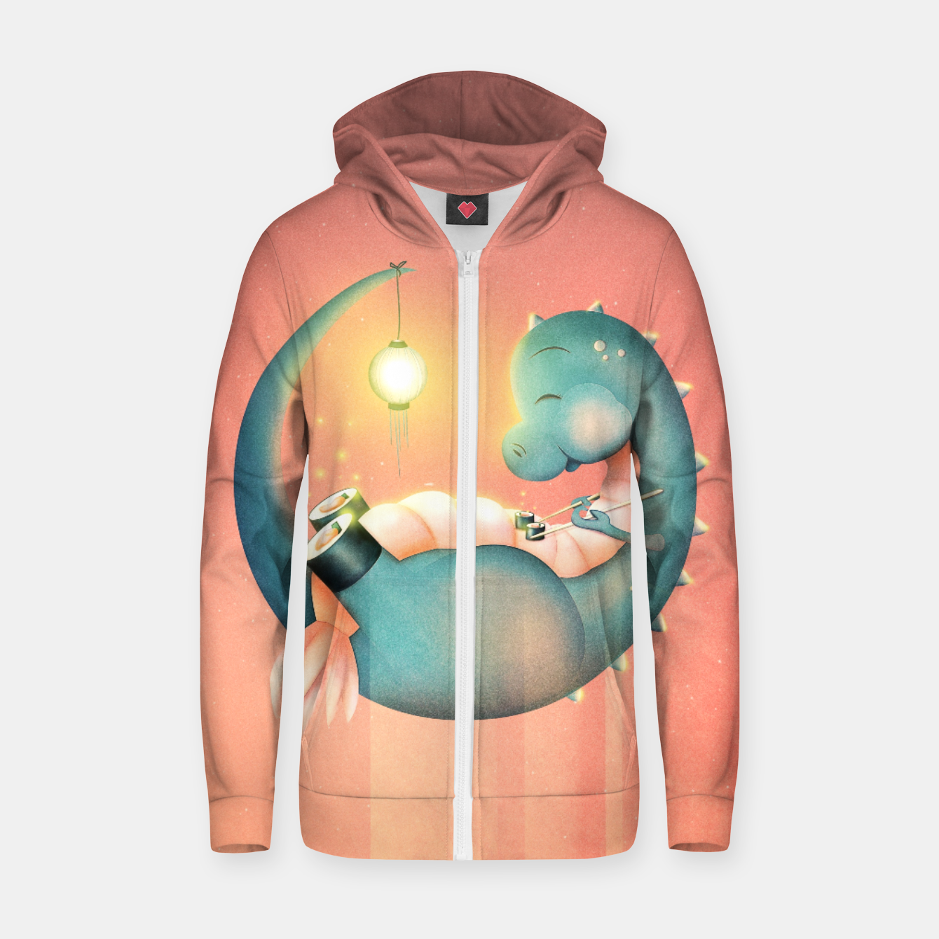 Image of Sushi Dinosaur Zip up hoodie - Live Heroes