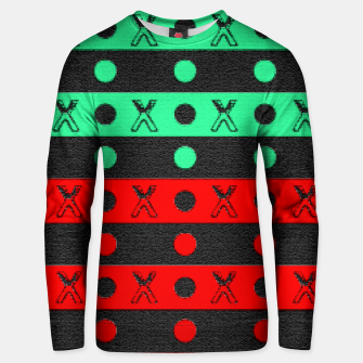Thumbnail image of Stripes pattern green black and red  Unisex sweater, Live Heroes