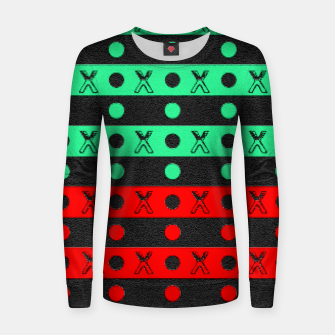 Thumbnail image of Stripes pattern green black and red  Women sweater, Live Heroes