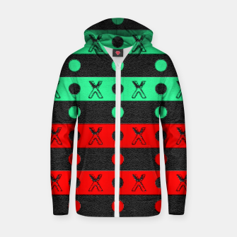 Thumbnail image of Stripes pattern green black and red  Zip up hoodie, Live Heroes