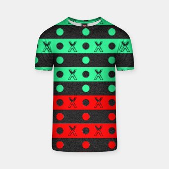 Thumbnail image of Stripes pattern green black and red  T-shirt, Live Heroes