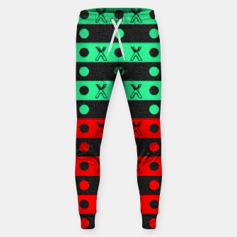 Thumbnail image of Stripes pattern green black and red  Sweatpants, Live Heroes