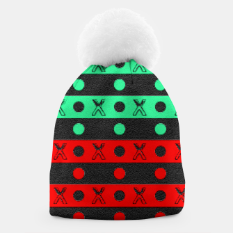 Thumbnail image of Stripes pattern green black and red  Beanie, Live Heroes