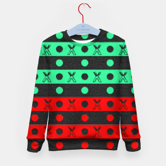 Thumbnail image of Stripes pattern green black and red  Kid's sweater, Live Heroes