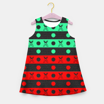 Thumbnail image of Stripes pattern green black and red  Girl's summer dress, Live Heroes