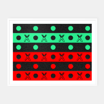 Thumbnail image of Stripes pattern green black and red  Framed poster, Live Heroes