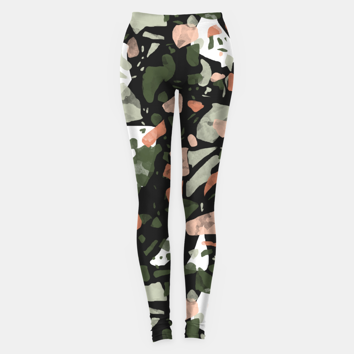 Image of Abstract forms of dark terrazzo Leggings - Live Heroes