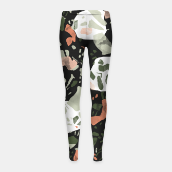 Miniaturka Abstract forms of dark terrazzo Leggings para niña, Live Heroes