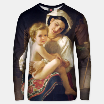 Thumbnail image of Young Mother Gazing At Her Child by William Adolphe Bouguereau Unisex sweater, Live Heroes