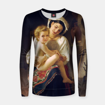 Young Mother Gazing At Her Child by William Adolphe Bouguereau Women sweater miniature