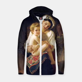 Thumbnail image of Young Mother Gazing At Her Child by William Adolphe Bouguereau Zip up hoodie, Live Heroes