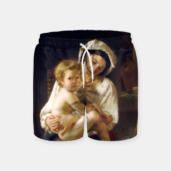 Young Mother Gazing At Her Child by William Adolphe Bouguereau Swim Shorts miniature