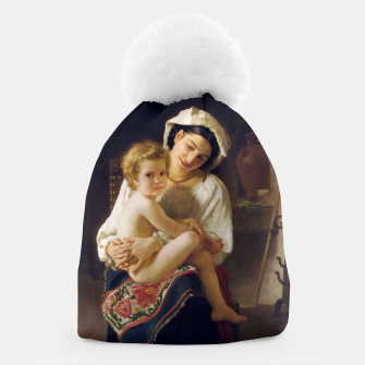 Young Mother Gazing At Her Child by William Adolphe Bouguereau Beanie miniature