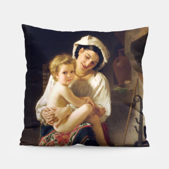 Miniatur Young Mother Gazing At Her Child by William Adolphe Bouguereau Pillow, Live Heroes