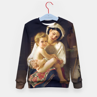 Young Mother Gazing At Her Child by William Adolphe Bouguereau Kid's sweater miniature