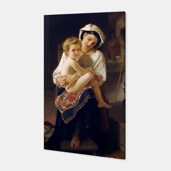 Miniatur Young Mother Gazing At Her Child by William Adolphe Bouguereau Canvas, Live Heroes