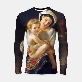 Miniatur Young Mother Gazing At Her Child by William Adolphe Bouguereau Longsleeve rashguard , Live Heroes