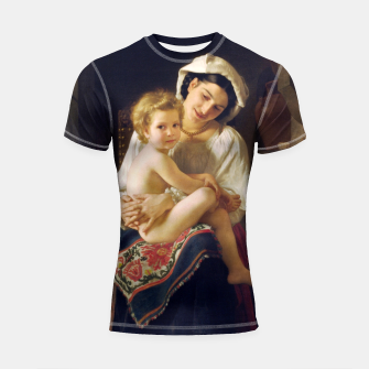 Young Mother Gazing At Her Child by William Adolphe Bouguereau Shortsleeve rashguard miniature