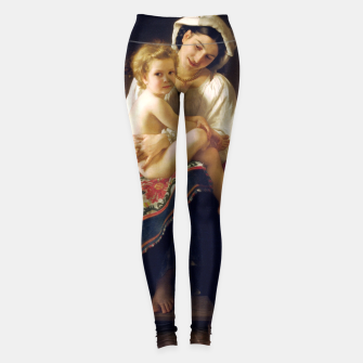 Young Mother Gazing At Her Child by William Adolphe Bouguereau Leggings miniature