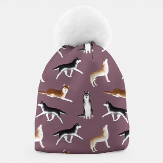 Thumbnail image of Husky Pattern (Dusty Purple Background) Beanie, Live Heroes