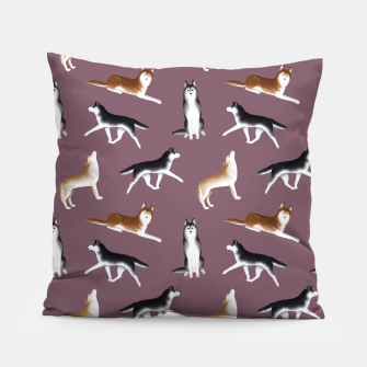 Thumbnail image of Husky Pattern (Dusty Purple Background) Pillow, Live Heroes