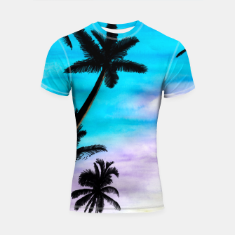 Thumbnail image of Sunset Palms Shortsleeve rashguard, Live Heroes